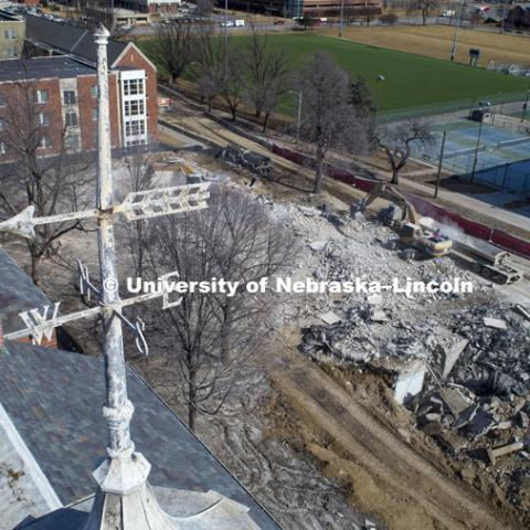 The cleanup of the rubble from the Cather Pound Residence Halls implosion is almost complete. February 21, 2019. Photo by Craig Chandler / University Communication.