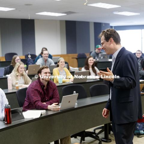 Eric Berger, Associate Dean and Professor of Law, is pictured teaching in the classroom. College of Law photo shoot. April 5, 2018. Photo by Craig Chandler, University Communication Photography.