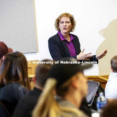 Colleen Medill, Professor of Law, is pictured teaching in the classroom. College of Law photo shoot. April 5, 2018. Photo by Craig Chandler, University Communication Photography.