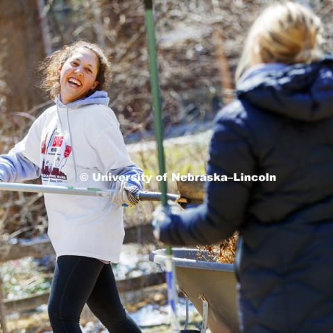 Tess Meyer laughs with her Gamma Phi Beta sorority sisters as they dig into a huge pile of mulch along 37th Street during the Big Event. April 7, 2018. Photo by Craig Chandler / University Communication.