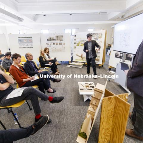 Architecture students partnership with SGH Inc. and Dri-Design, present as part of a student scholarship competition for the fourth-year, undergraduate, architectural design studios. April 27, 2018. Photo by Craig Chandler / University Communication.