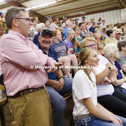 Chancellor Ronnie Green watches the Jefferson County Fair Junior Beef Show in Fairbury, Nebraska. July 13, 2018. Photo by Craig Chandler / University Communication.