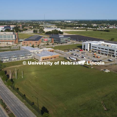 Aerial drone footage of new construction on Nebraska Innovation Campus. July 20, 2018. Photo by Craig Chandler, University Communication.