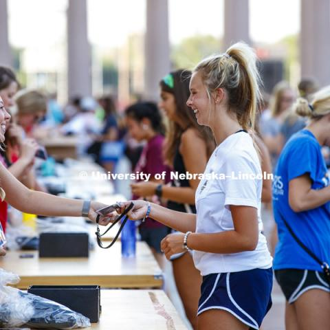 Sorority recruitment check in and information meetings. August 12, 2018. Photo by Craig Chandler / University Communication.