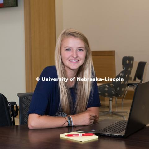 College of Business student, Lilly Markusch is photographed in Hawks Hall. Lilly is a cross country runner that studies in Barcelona. August 13, 2018. Photo by Greg Nathan, University Communication Photography.