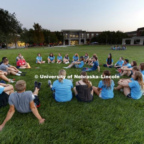Groups met on the green space following the Learning Community Welcome Event in the rec center. August 17, 2018. Photo by Craig Chandler / University Communication.