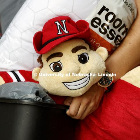 <p>Herbie Husker is a room essential. Residence Hall move-in. August 16, 2018. Photo by Craig Chandler / University Communication. Housing</p>