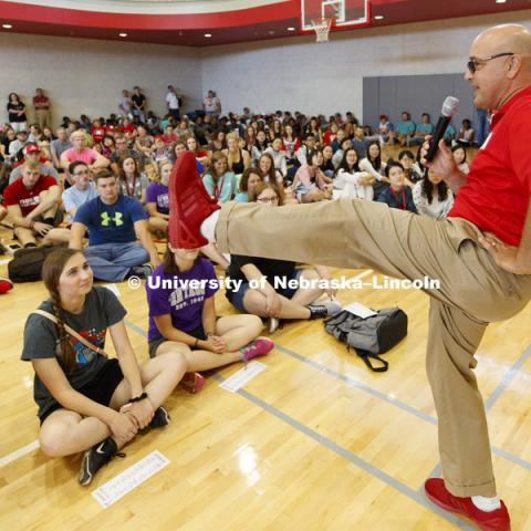 Mike Boehm, Vice Chancellor for the Institute of Agriculture and Natural Resources, shows off his new Husker red shoes at the new student welcome for CASNR students. August 17, 2018. Photo by Craig Chandler / University Communication.