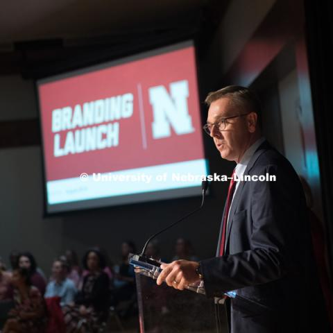 Chancellor Ronnie Green announces the new brand for the University to faculty and staff before the big reveal to the students. In Our Grit, Our Glory brand reveal party on city campus at the Nebraska Union. August 30, 2018. Photo by Greg Nathan, University Communication.