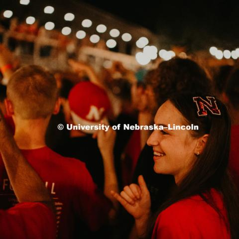 "Students come together for a pep rally at the Blue Blood Brewing Company on 925 Robbers Cave Drive in Lincoln, Nebraska, to warn that the ""Frost is Coming"". August 31, 2018. Photo by Justin Mohling, University Communication."