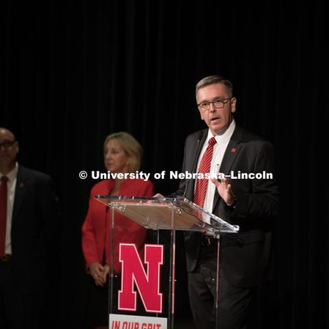 Chancellor Ronnie Green announces the new brand for the University to faculty and staff before the big reveal to the students. In Our Grit, Our Glory brand reveal party on east campus at the Nebraska Union. August 31, 2018. Photo by Greg Nathan, University Communication.