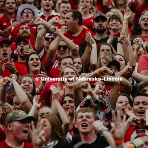 Student section throwing the bones. Nebraska vs. Colorado football game in Memorial Stadium. September 8, 2018. Photo by Justin Mohling / University Communication.