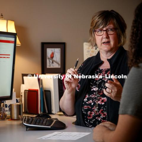 Marybeth Helmink is being honored for 20 years of service to the university. She found her career path as an undergraduate helping fellow Huskers. September 24, 2018. Photo by Craig Chandler / University Communication.