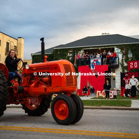 Tractors from the Lester F. Larsen Tractor Test and Power Museum show their stuff in the 2018 Homecoming Parade. September 28, 2018. Photo by Justin Mohling / University Communication.
