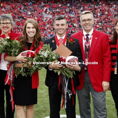 Seniors Gage Hoegermeyer of Herman and Monica Rogers of Omaha were crowned king and queen at the University of Nebraska–Lincoln's homecoming celebration. Hoegermeyer and Rogers, elected in an online vote of the student body on Sept. 27, were crowned on the field at Memorial Stadium during halftime of the Sept. 29 Nebraska-Purdue football game. September 29, 2018. Photo by Craig Chandler / University Communication.