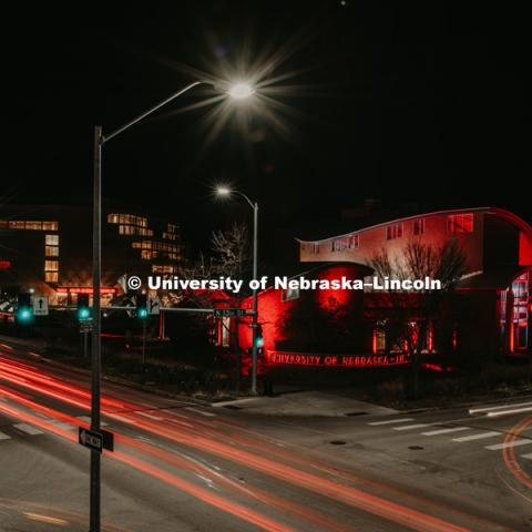 The Van Brunt Visitors Center is lit up red at night on City Campus. November 7, 2018. Photo by Justin Mohling, University Communication.