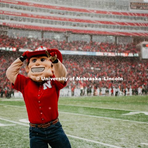 Herbie dances around in the snow at the Nebraska vs. Michigan State University football game in Memorial Stadium. November 17, 2018. Photo by Justin Mohling / University Communication.