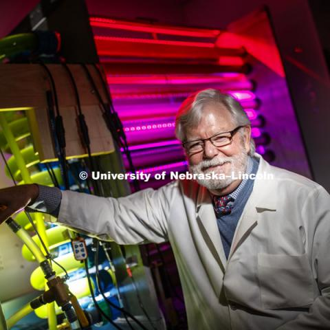 Paul Black, Charles Bessey Professor of Biological Chemistry at the University of Nebraska–Lincoln, has been named a 2018 fellow of the American Association for the Advancement of Science, the world's largest general scientific society. He is now researching a method using algae and certain wavelengths of light to remove nitrates from ground water. November, 28, 2018. Photo by Craig Chandler / University Communication.