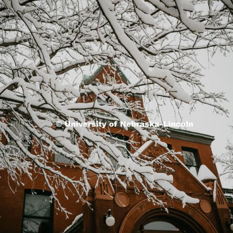 Architecture Hall covered in snow on City Campus. January 12, 2019. Photo by Justin Mohling, University Communication.