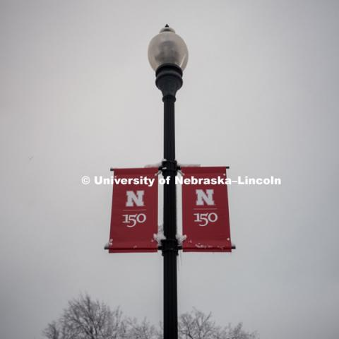 Snowy background behind the light post with red N Banners featuring the new N150 anniversary logo on City Campus. January 12, 2019. Photo by Justin Mohling, University Communication.