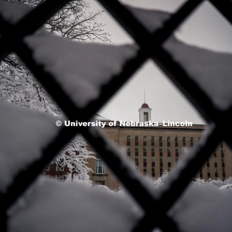 Love Library cupola framed in the snow covered lattice work of the fence. January 12, 2019. Photo by Justin Mohling, University Communication.