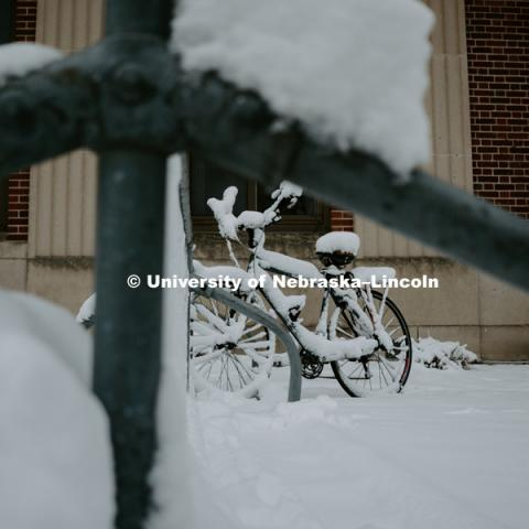 Snow covered bike in bike rack on City Campus. January 12, 2019. Photo by Justin Mohling, University Communication.