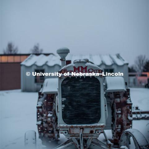 Snow covered tractors at the Larsen Tractor Museum on East Campus. February 11, 2019. Photo by Justin Mohling / University Communication.
