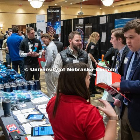 STEM Career Fair (Science, Technology, Engineering, and Math) at Embassy Suites. Sponsored by Career Services. February 12, 2019. Photo by Gregory Nathan / University Communication.
