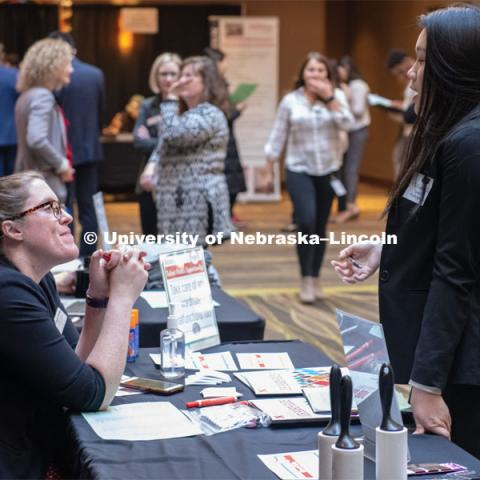 STEM Career Fair (Science, Technology, Engineering, and Math) in Embassy Suites. Sponsored by Career Services. February 12, 2019. Photo by Gregory Nathan / University Communication.