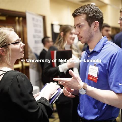 Day two of Career Fair at Embassey Suites with emphasis on Science, Technology, Engineering and Mathematics. February 13, 2019.  Photo by Craig Chandler/University Communication.