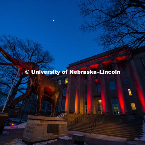 The University of Nebraska celebrates its 150th Anniversary by lighting up the campus in red. Glow Big Red. February 14, 2019. Photo by Gregory Nathan / University Communication.