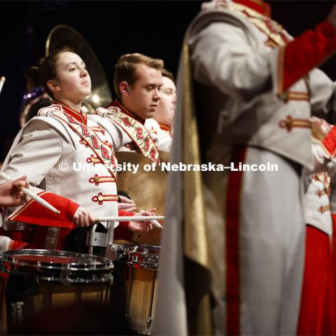 The Cornhusker Marching Band filled the stage and the aisles to perform Hail Varsity and Dear Old Nebraska U. Charter Day Celebration: Music and Milestones in the Lied Center. Music and Milestones was a part of the N150 Charter Week celebration. February 15, 2019. Photo by Craig Chandler / University Communication.