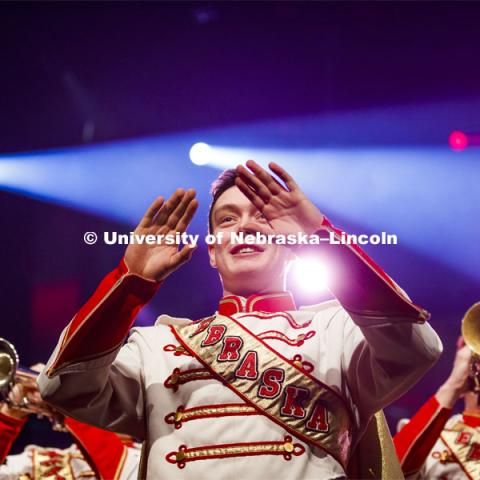 Drum Major Ethan Millington and The Cornhusker Marching Band filled the stage and the aisles to perform Hail Varsity and Dear Old Nebraska U. Charter Day Celebration: Music and Milestones in the Lied Center. Music and Milestones was a part of the N150 Charter Week celebration. February 15, 2019. Photo by Craig Chandler / University Communication.