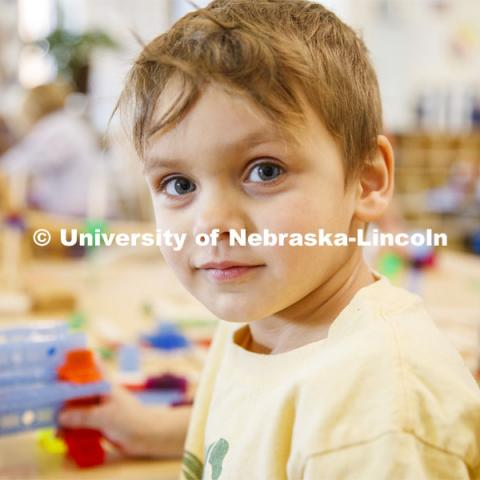 Ruth Staples Child Development Lab student teachers and children work with children at the Malone Center. Febrary 28, 2019. Photo by Craig Chandler / University Communication
