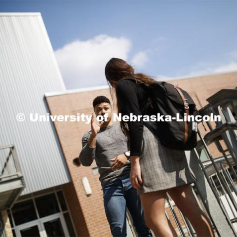 Law students hanging out in the Railyard. College of Law photo shoot in Haymarket. April 4, 2019. Photo by Craig Chandler / University Communication.
