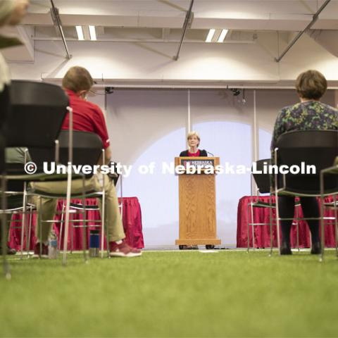 Sue Sheridan, director of Nebraska Center for Research on Children, Youth, Families and Schools addresses the Research Media Day in Nebraska Athletic Performance Lab in east stadium. April 8, 2019. Photo by Craig Chandler / University Communication.