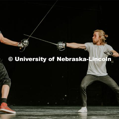 Students take to the stage with a stage combat class, which takes place at the Johnny Carson School of Theater and Film. The class is designed to teach student actors safe and effective depictions of violence for stage and screen. April 8, 2019. Photo by Justin Mohling / University Communication.