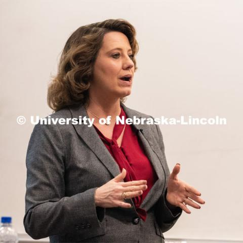 Mindy Brashears, a former Husker and current United States Department of Agriculture official discussed the merger of science with policy to ensure food safety. The talk was held at Nebraska Innovation Campus, April 15, 2019. Photo by Gregory Nathan / University Communication.