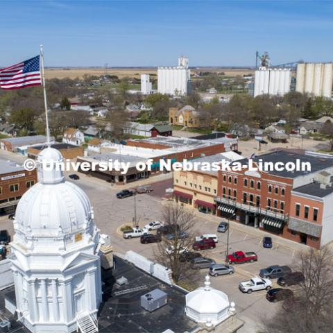 Aerial view of the Kearney County courthouse and Minden, NE, downtown. April 23, 2019. Photo by Craig Chandler / University Communication.