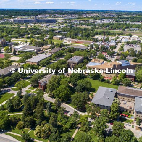 Aerial photography of East Campus. June 10, 2019. Photo by Craig Chandler / University Communication.