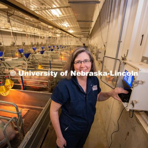 "Tami Brown-Brandl, professor in the Department of Biological Systems Engineering at the University of Nebraska–Lincoln, uses an engineering approach to research ways technology can improve production agriculture. Her work is termed ""precision animal management"" and according to Brown-Brandl, Nebraska leads the United States in this work. Photo for the 2019 publication of the Strategic Discussions for Nebraska magazine. June 13, 2019, Photo by Gregory Nathan / University Communication."