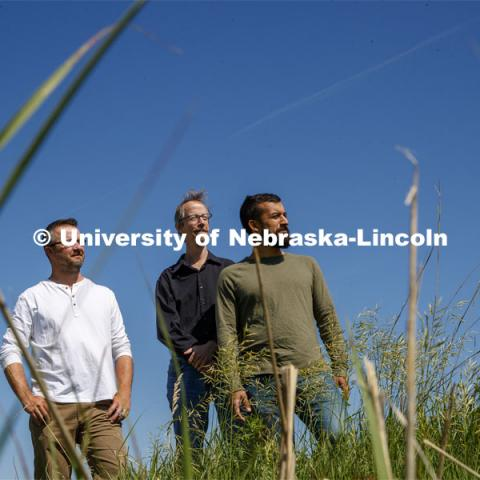 University of Nebraska-Lincoln researchers (green shirt) Caleb Roberts, (black shirt) Craig Allen and (white shirt) Dirac Twidwell have found evidence that multiple ecosystems in the U.S. Great Plains have moved substantially northward during the past 50 years due to warmer climates. June 13, 2019. Photo by Craig Chandler / University Communication.