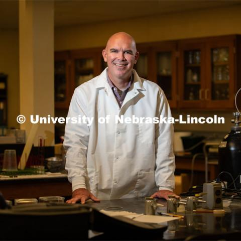 Thomas Burkey, associate professor and gut health scientist in the Department of Animal Science at the University of Nebraska–Lincoln. Photo for the 2019 publication of the Strategic Discussions for Nebraska magazine. June 24, 2019, Photo by Gregory Nathan / University Communication.
