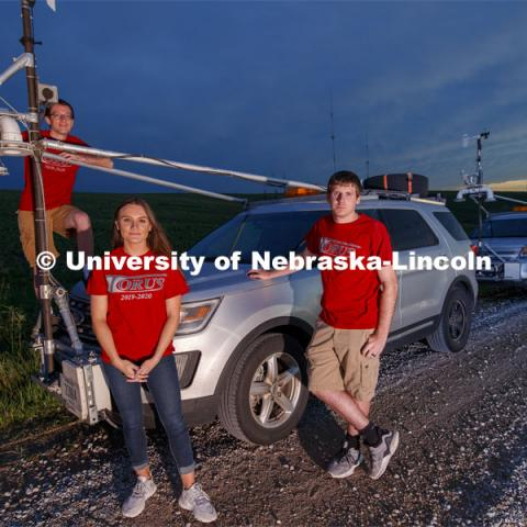 Students with the storm chaser car. Adam Houston, Professor of Earth and Atmospheric Sciences, led TORUS project — the most ambitious drone-based investigation of severe storms and tornadoes ever conducted — chased supercells for more than 9,000 miles across five states this summer. The project, led by Nebraska's Adam Houston, features more than 50 scientists and students from four universities. The 2019 team included 13 Huskers — 10 undergraduates and three graduate students. The $2.5 million study is funded through a $2.4 million, three-year grant from the National Science Foundation with additional support provided by the National Oceanic and Atmospheric Administration. June 25, 2019. Photo by Craig Chandler / University Communication.