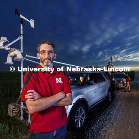 Adam Houston, Professor of Earth and Atmospheric Sciences, led TORUS project — the most ambitious drone-based investigation of severe storms and tornadoes ever conducted — chased supercells for more than 9,000 miles across five states this summer. The project, led by Nebraska's Adam Houston, features more than 50 scientists and students from four universities. The 2019 team included 13 Huskers — 10 undergraduates and three graduate students. The $2.5 million study is funded through a $2.4 million, three-year grant from the National Science Foundation with additional support provided by the National Oceanic and Atmospheric Administration. June 25, 2019. Photo by Craig Chandler / University Communication.