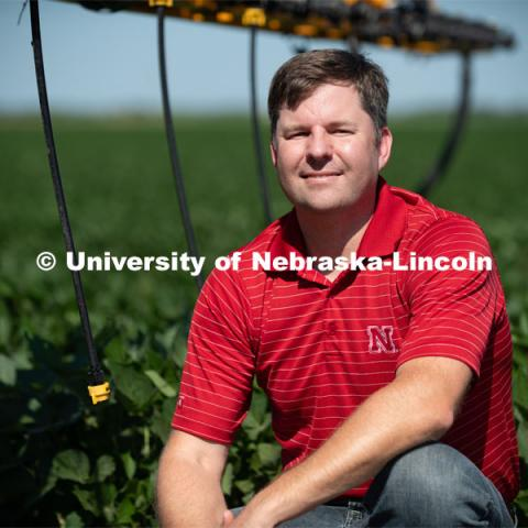 Joe Luck, associate professor specializing in precision agriculture engineering in the Department of Biological Systems Engineering at the University of Nebraska–Lincoln, develops ways to make application systems more efficient in reducing spray drift. Photo for the 2019 publication of the Strategic Discussions for Nebraska magazine. July 15, 2019. Photo by Gregory Nathan / University Communication.