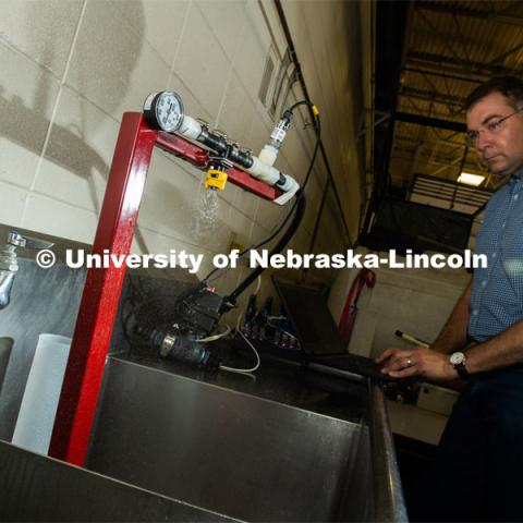 Rodney Rohrer, Research Engineer, Tractor Test, in the Department of Biological Systems Engineering at the University of Nebraska–Lincoln. Photo for the 2019 publication of the Strategic Discussions for Nebraska magazine. July 19, 2019, Photo by Gregory Nathan / University Communication.