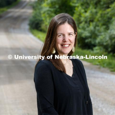 Jessica Shoemaker, Associate Professor of Law, is exploring the relationship between land tenure and North American indigenous communities. Photo used for 2018-2019 Annual Report on Research at Nebraska. August 16, 2019. Photo by Craig Chandler / University Communication.