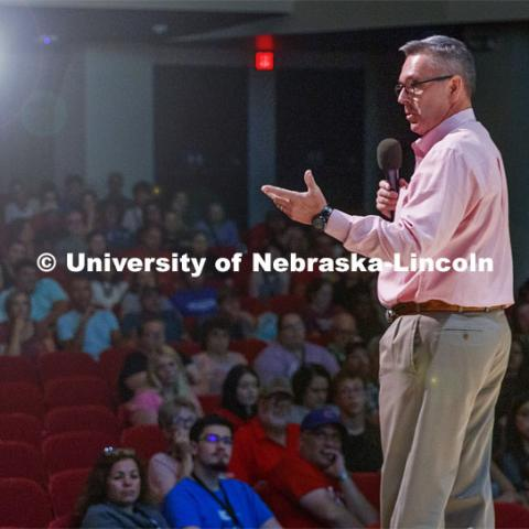 Chancellor Ronnie Green welcomes the First Husker program students. August 18, 2019. Photo by Craig Chandler / University Communication.