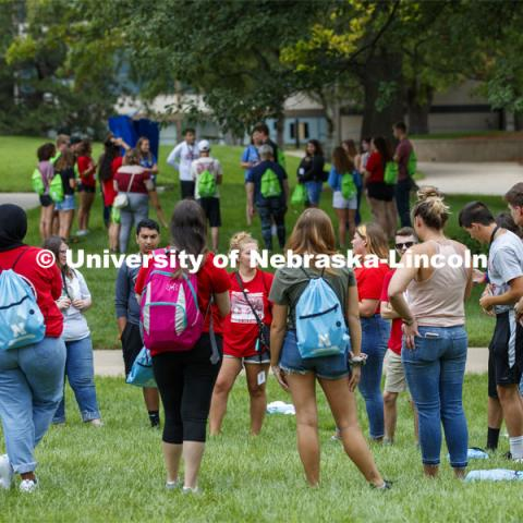 Students participate in ice-breaker games at the First Husker Welcome. August 18, 2019. Photo by Craig Chandler / University Communication.